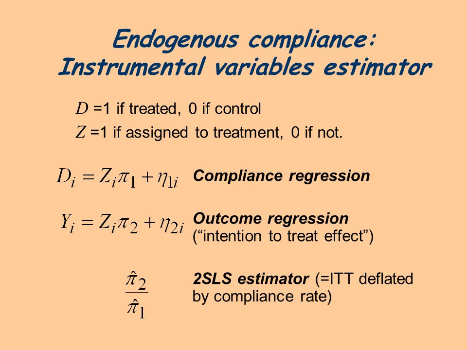 Endogenous compliance: Instrumental variables estimator