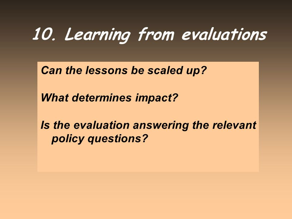 10. Learning from evaluations