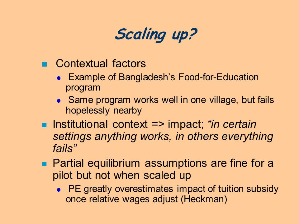 Scaling up Contextual factors