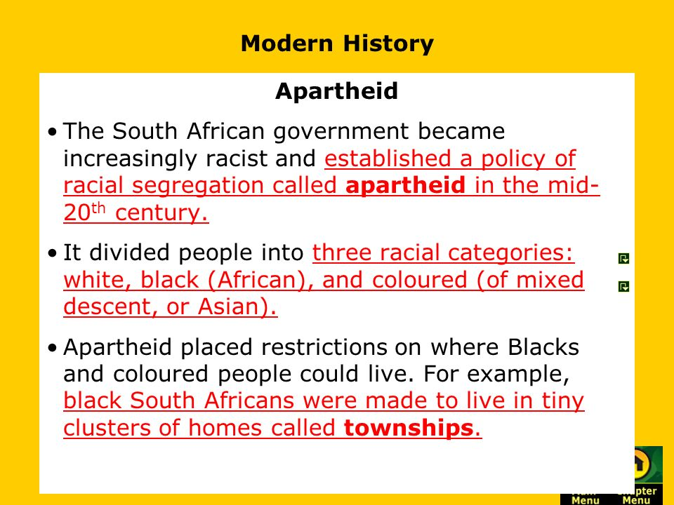an analysis of apartheid in modern south africa Apartheid in south africa the apartheid in south africa refers to an official policy by the government of racial segregation that started in the 20 th century however, the roots of racial inequality in south africa date back to the colonial times when blacks outnumbered the whites.