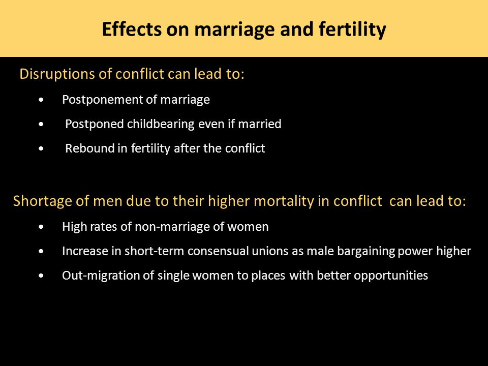 Effects on marriage and fertility