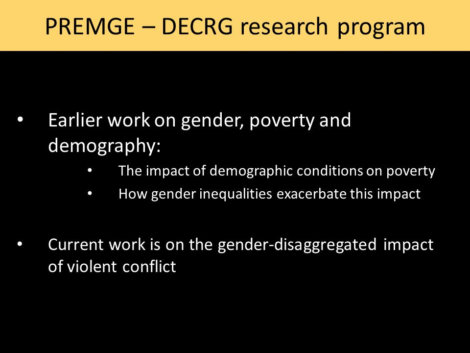PREMGE – DECRG research program