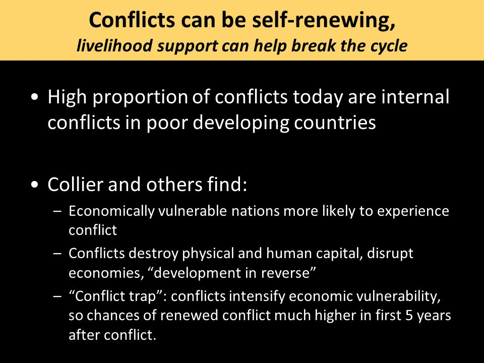 Conflicts can be self-renewing, livelihood support can help break the cycle