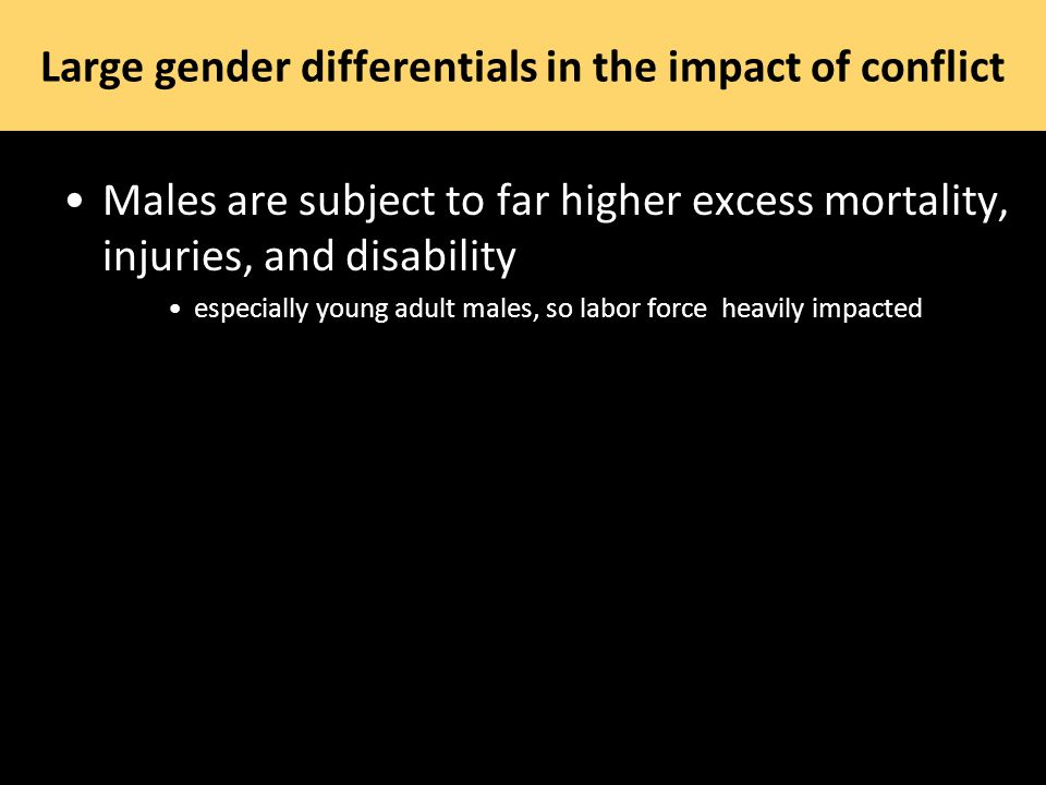 Large gender differentials in the impact of conflict