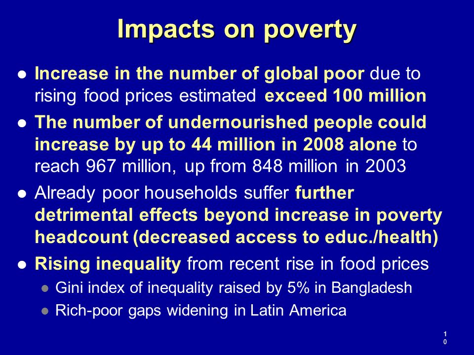 Impacts on poverty Increase in the number of global poor due to rising food prices estimated exceed 100 million.