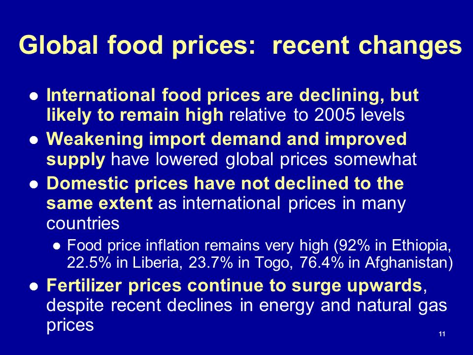 Global food prices: recent changes