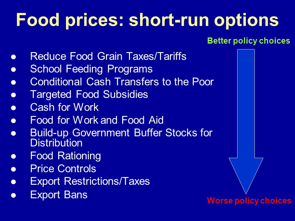 Food prices: short-run options