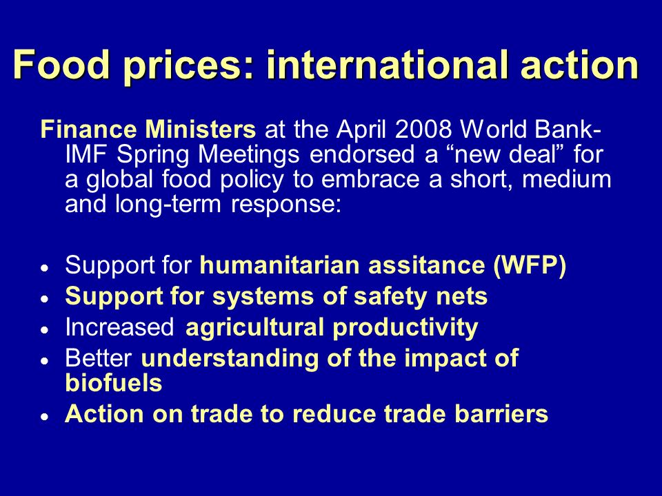 Food prices: international action