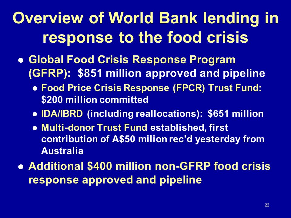 Overview of World Bank lending in response to the food crisis