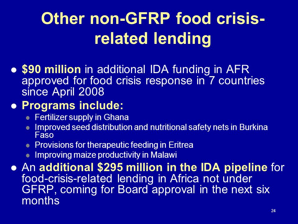 Other non-GFRP food crisis-related lending