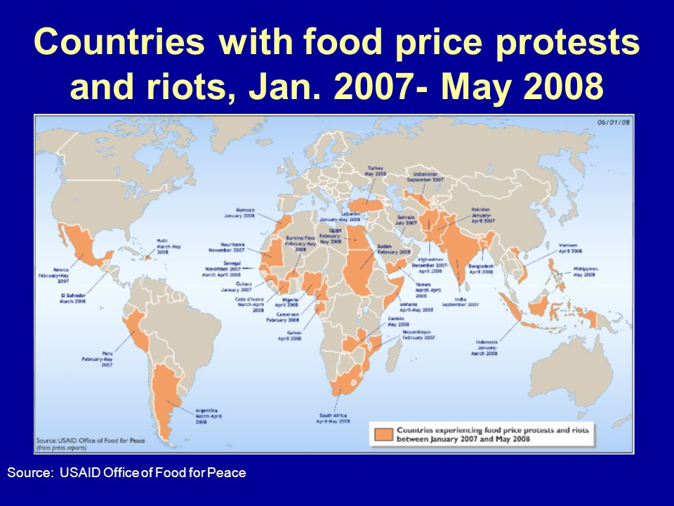 Countries with food price protests and riots, Jan. 2007- May 2008