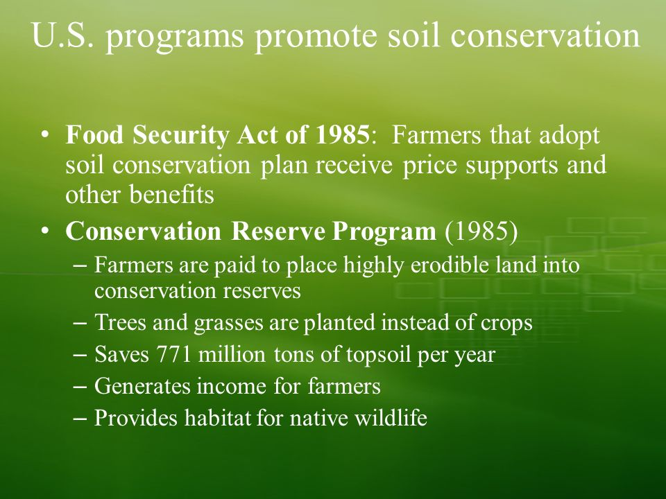 Soil and agriculture chapter ppt video online download for Soil conservation act