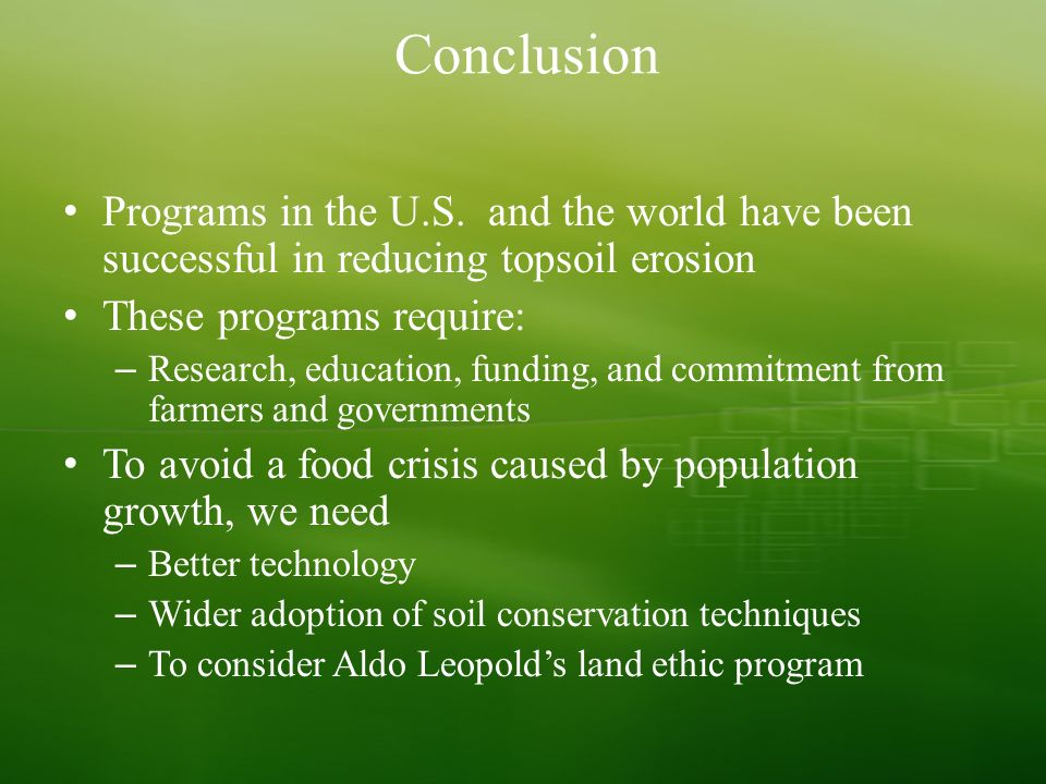 soil and agriculture chapter ppt video online  international soil conservation programs 54 conclusion