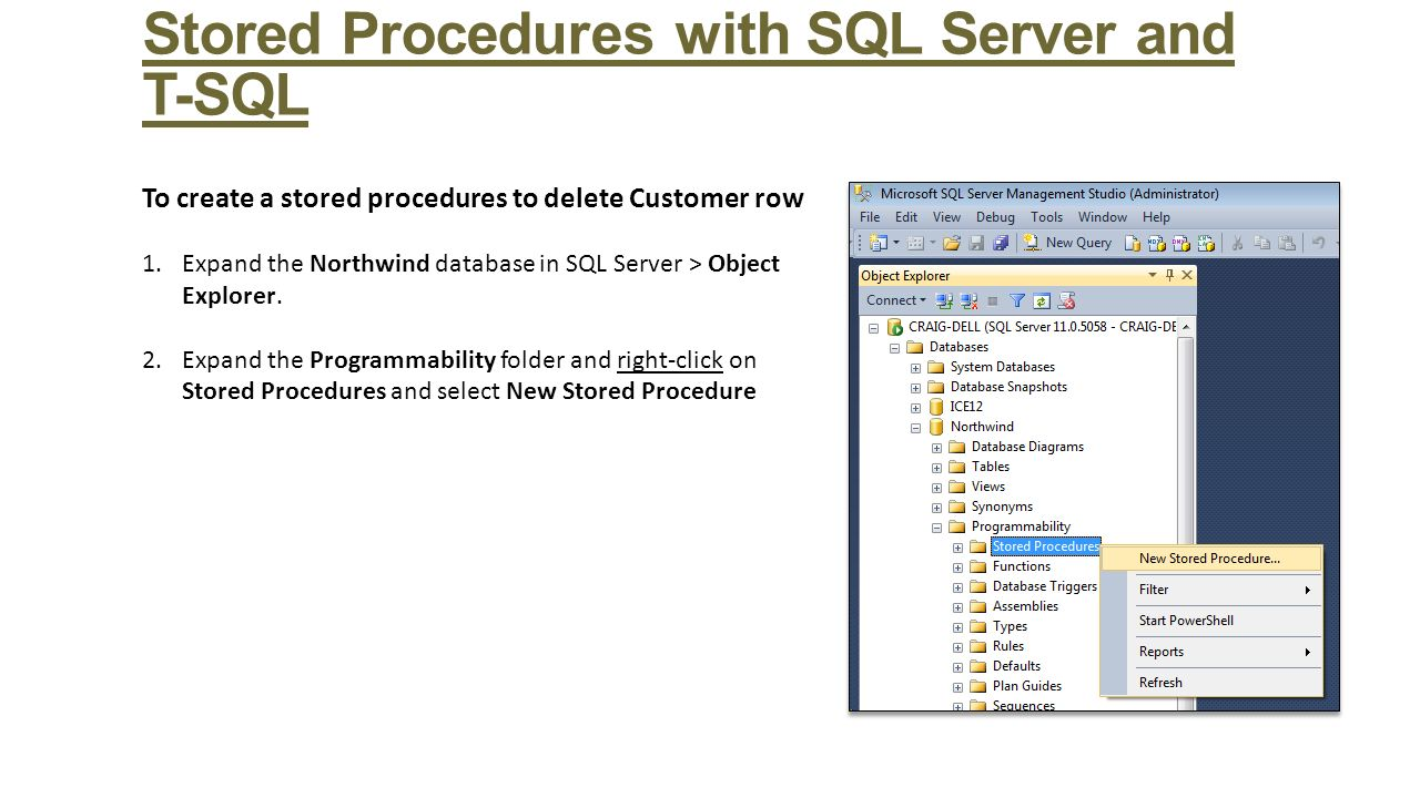 sql stored procedures Learn the basics of writing stored procedures, monitor stored procedure activity using the profiler utility, and learn from several real-world stored procedure.