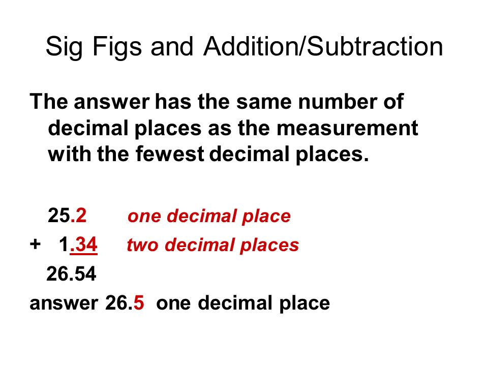 Sig Figs and Addition/Subtraction