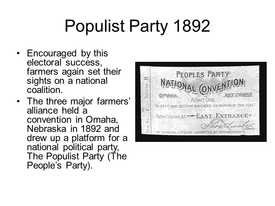 the main principles of the populists party in the omaha platform 61 fraser, 97 62 the omaha platform: launching the populist party   fundamental principles of republican government as set forth in the declaration  of.