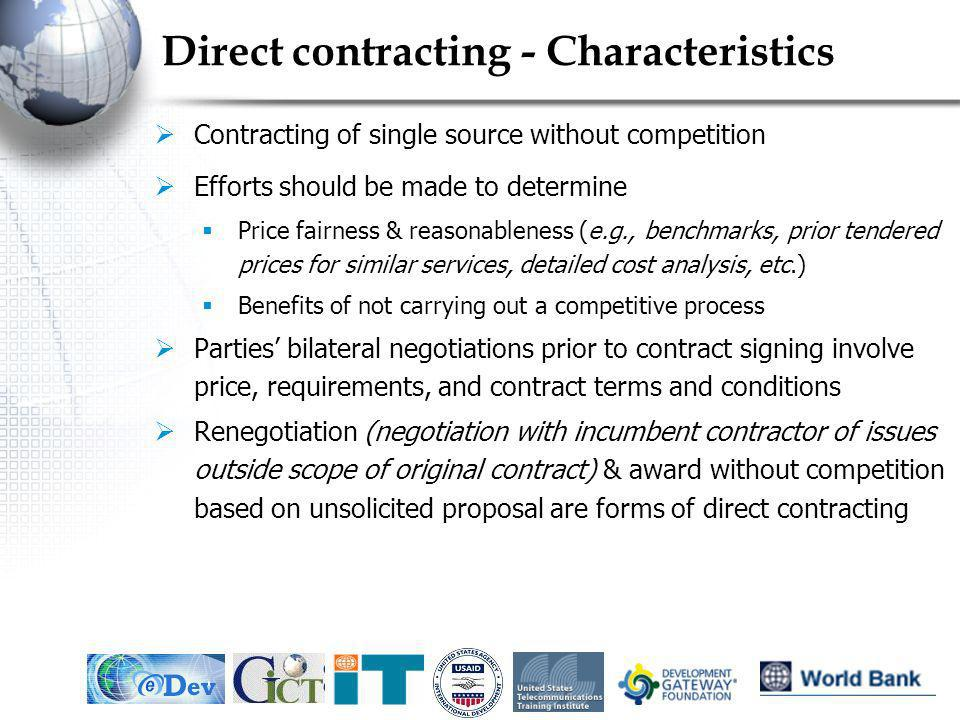 Direct contracting - Characteristics