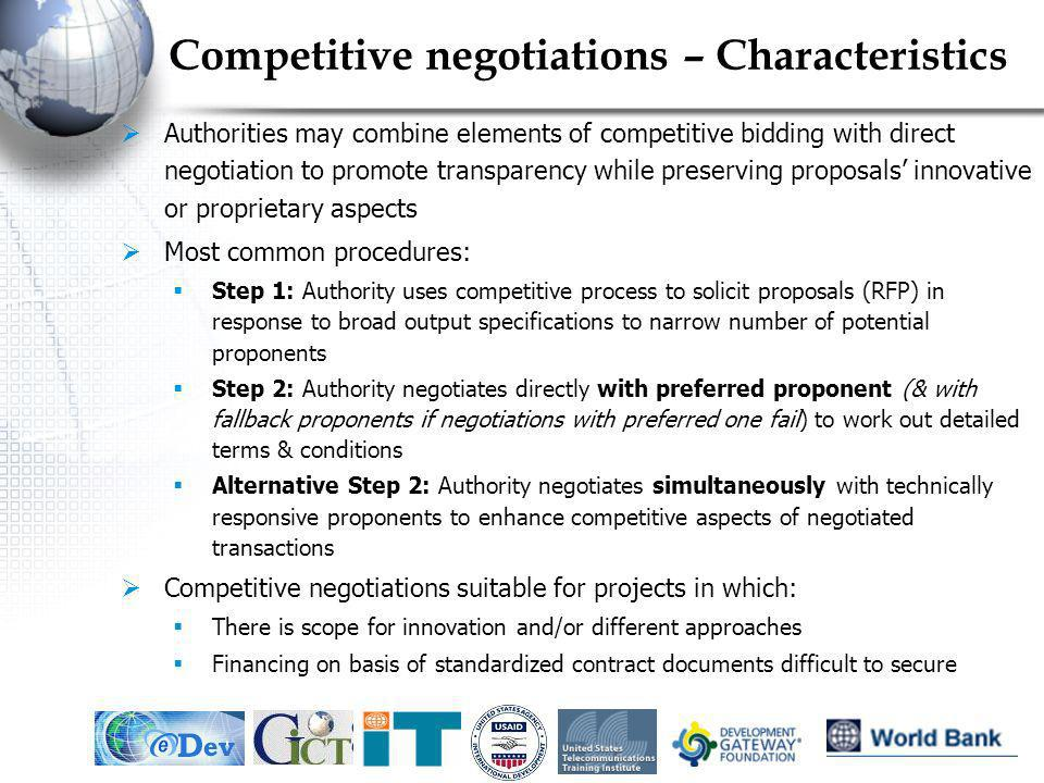 Competitive negotiations – Characteristics