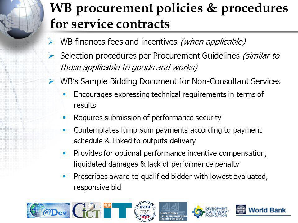 WB procurement policies & procedures for service contracts