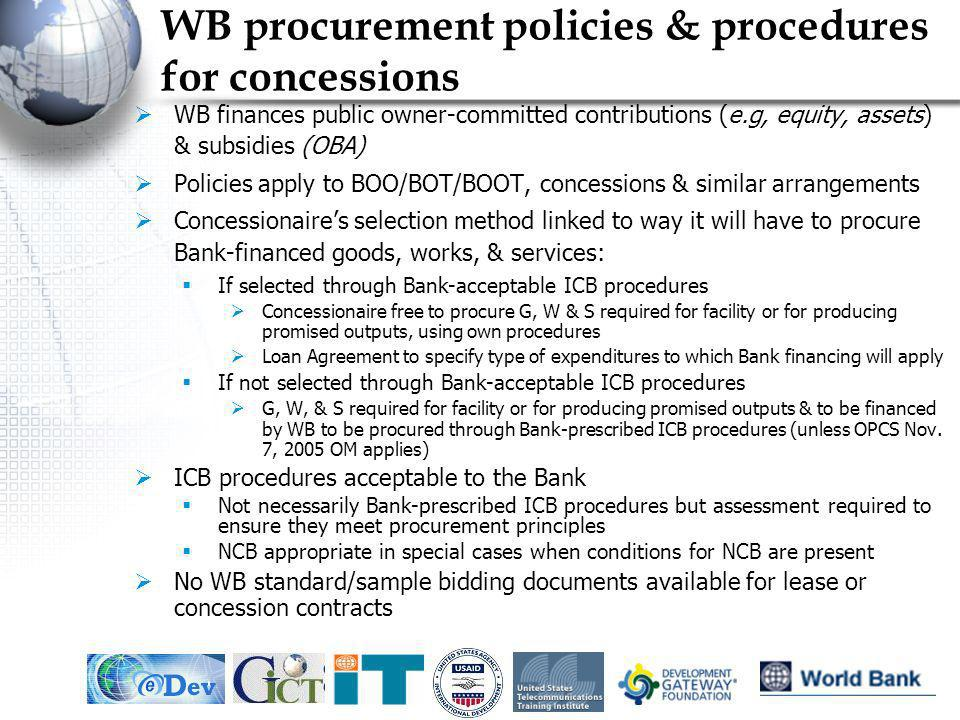 WB procurement policies & procedures for concessions