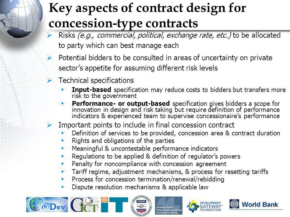 Key aspects of contract design for concession-type contracts