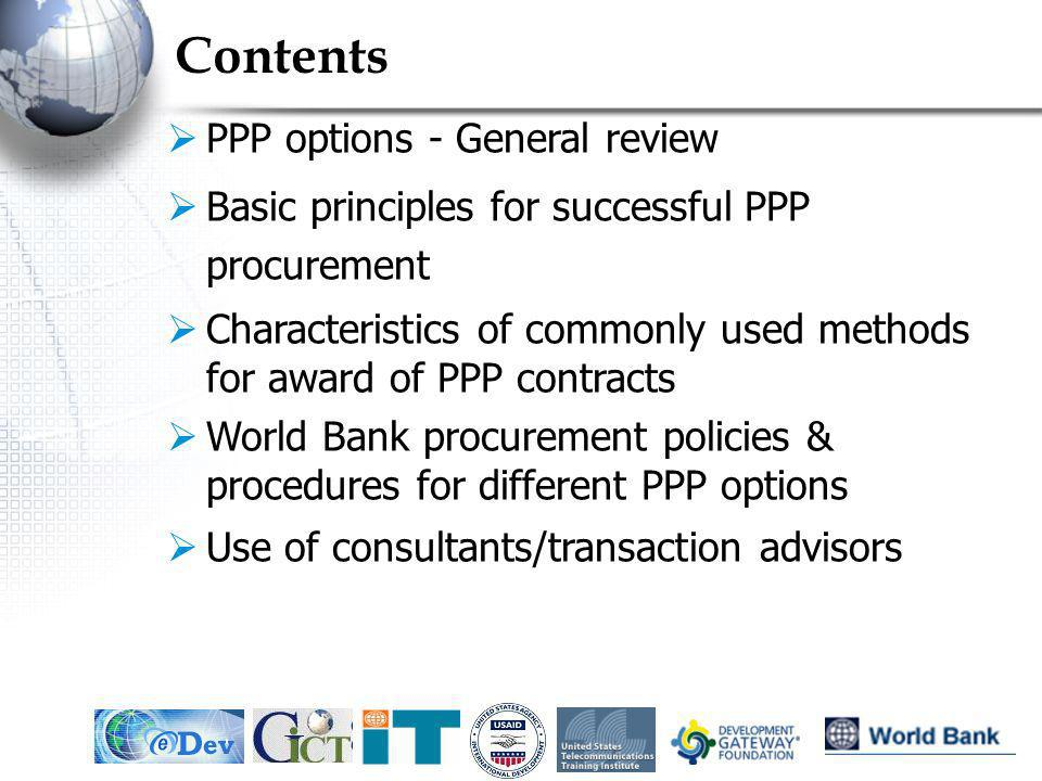 Contents PPP options - General review