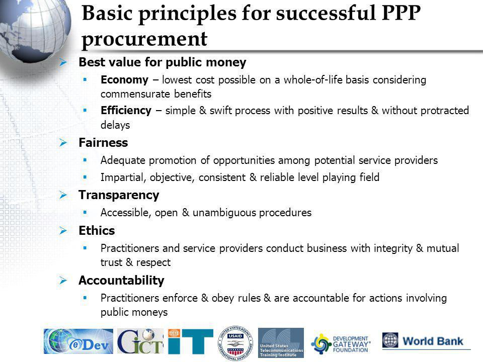 Basic principles for successful PPP procurement