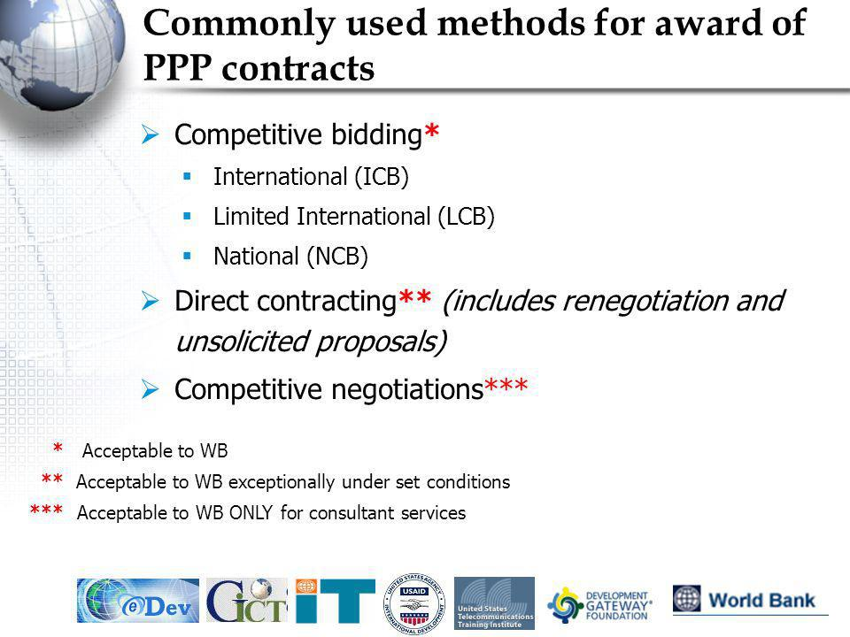 Commonly used methods for award of PPP contracts