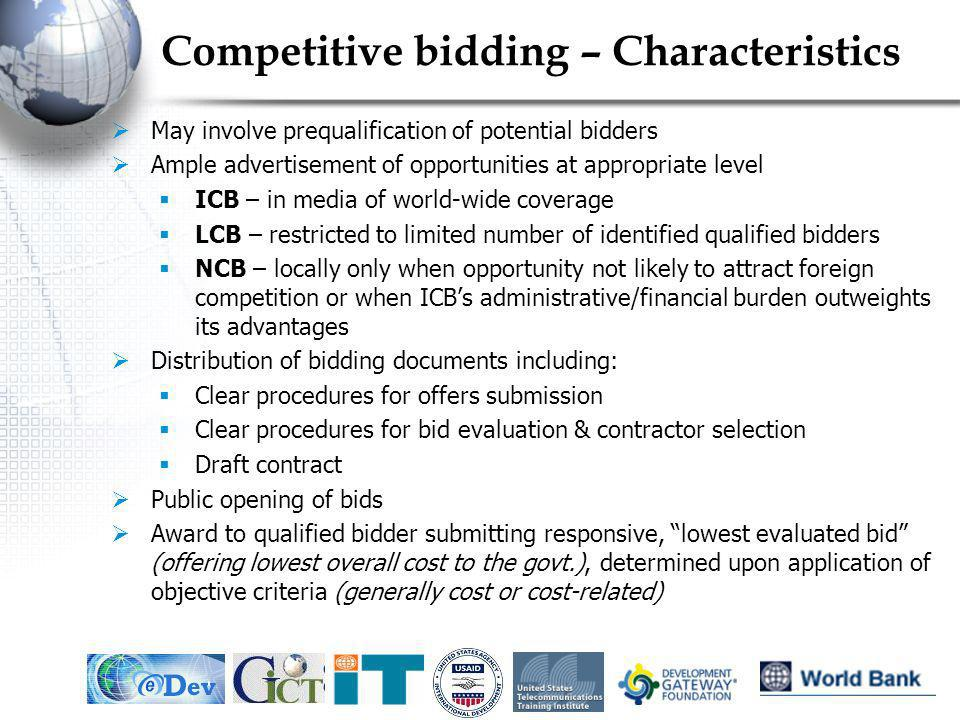 Competitive bidding – Characteristics