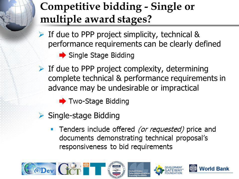 Competitive bidding - Single or multiple award stages