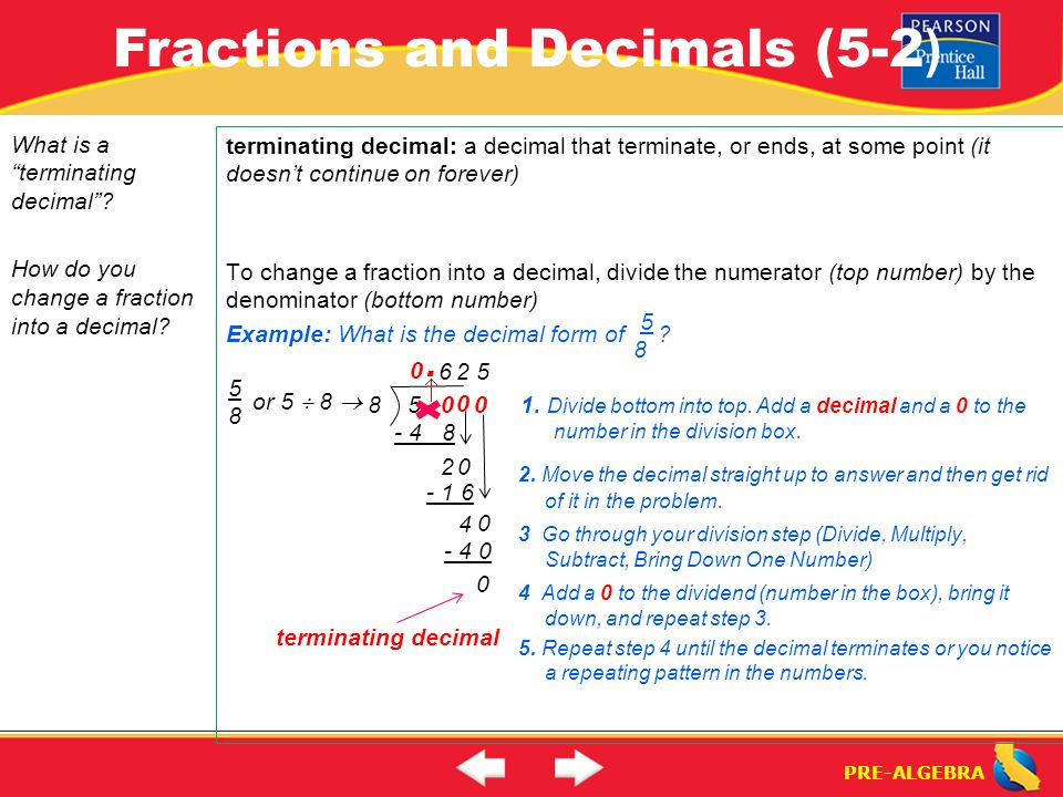 Lesson 5-2 Warm-Up. Lesson 5-2 Warm-Up Fractions and Decimals (5-2 ...