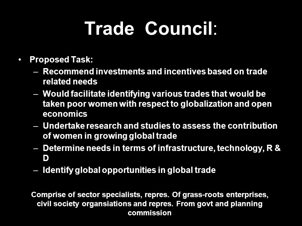 Trade Council: Proposed Task: