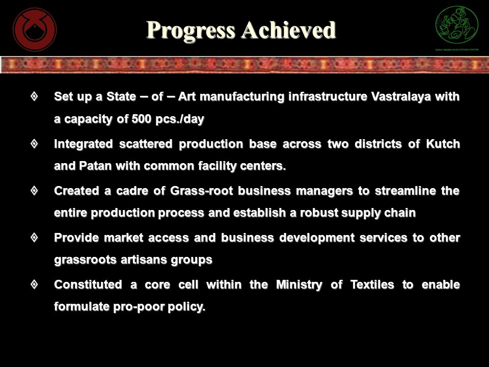 Progress Achieved Set up a State – of – Art manufacturing infrastructure Vastralaya with a capacity of 500 pcs./day.