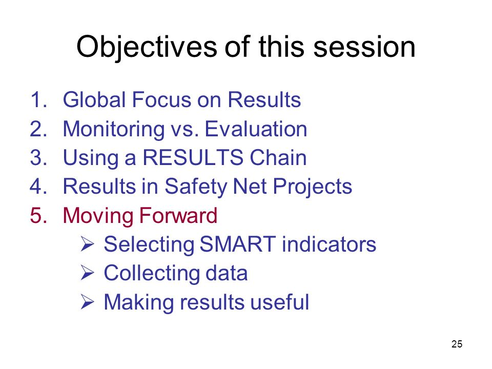 Objectives of this session