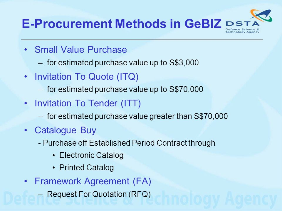 E-Procurement Methods in GeBIZ
