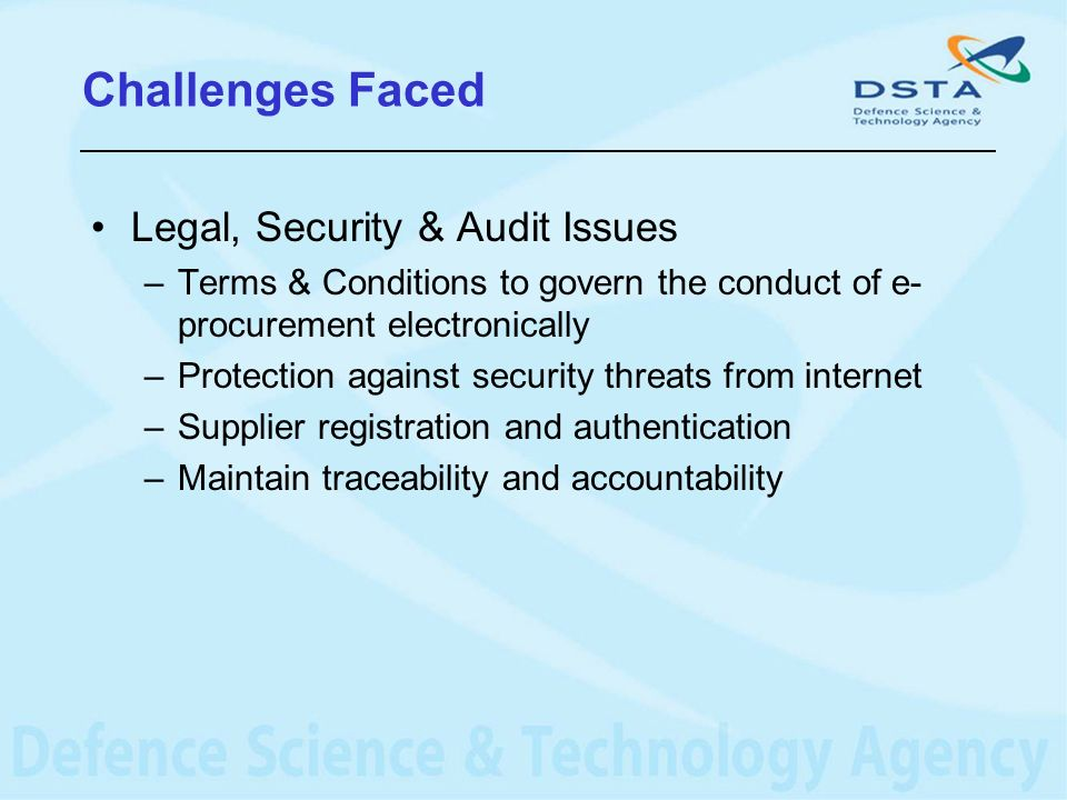 Challenges Faced Legal, Security & Audit Issues