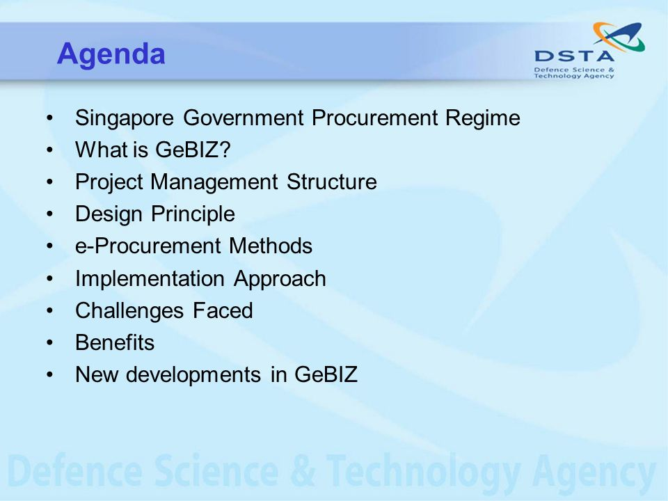 Agenda Singapore Government Procurement Regime What is GeBIZ