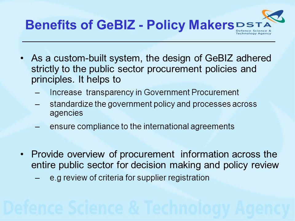Benefits of GeBIZ - Policy Makers
