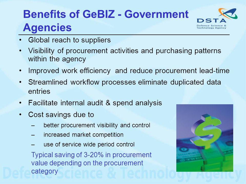 Benefits of GeBIZ - Government Agencies