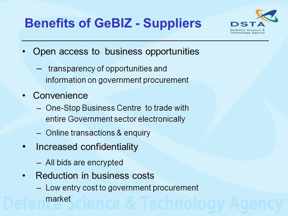 Benefits of GeBIZ - Suppliers