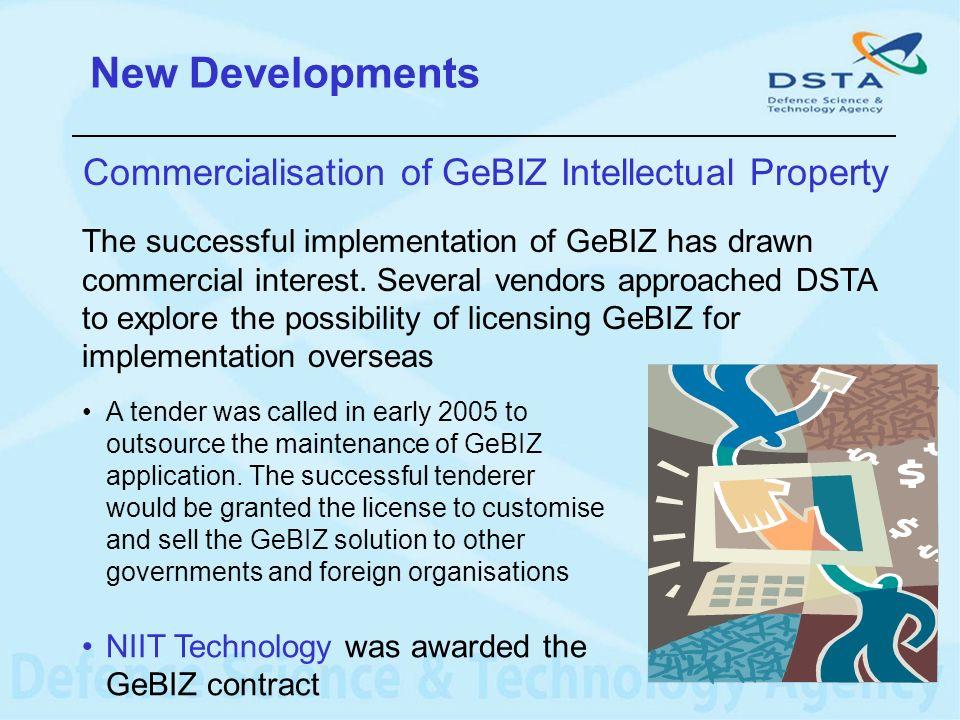 New Developments Commercialisation of GeBIZ Intellectual Property