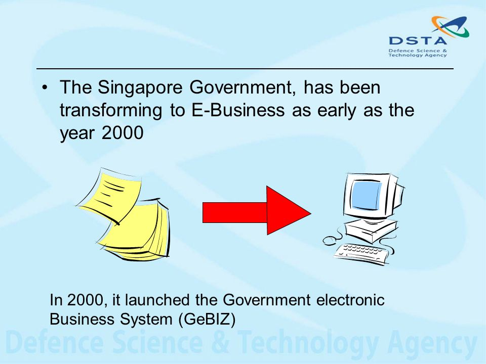 The Singapore Government, has been transforming to E-Business as early as the year 2000