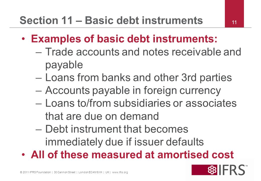 Section 11 – Basic debt instruments