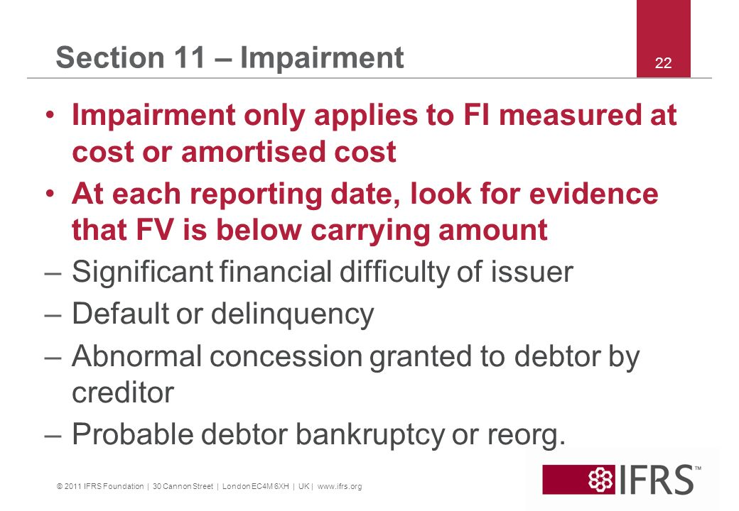 Impairment only applies to FI measured at cost or amortised cost