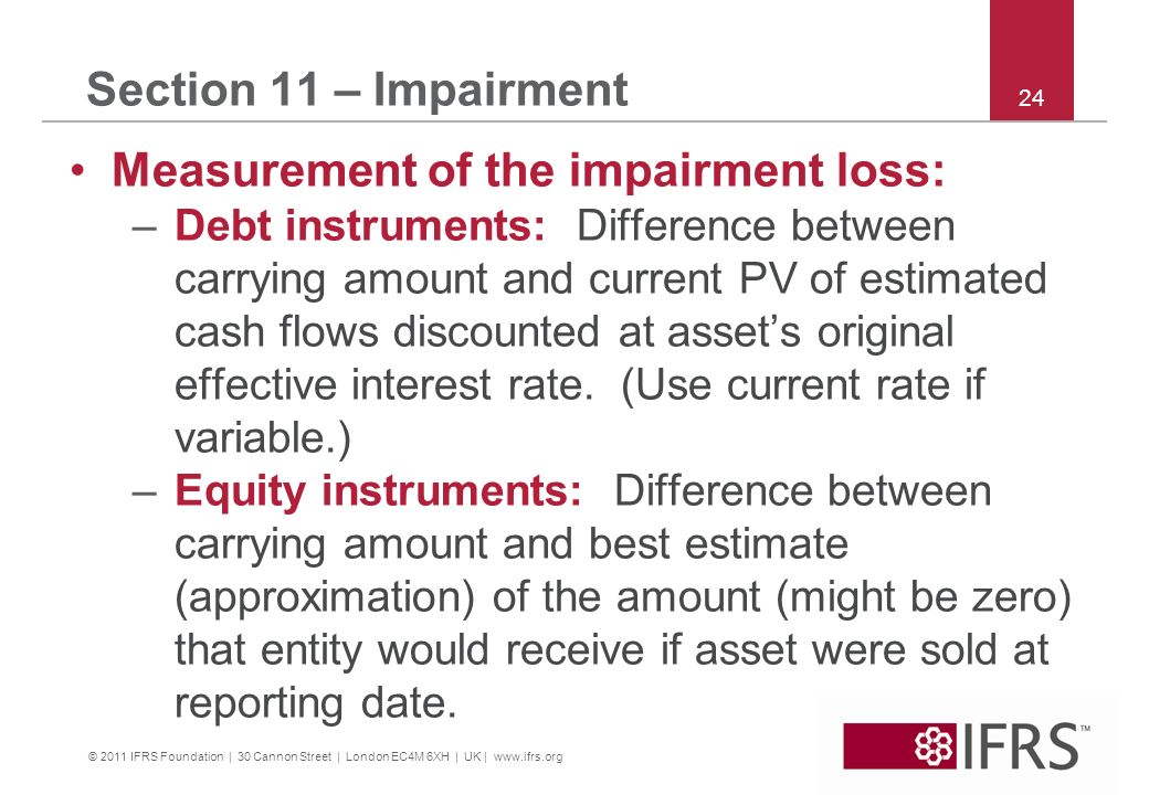 Measurement of the impairment loss: