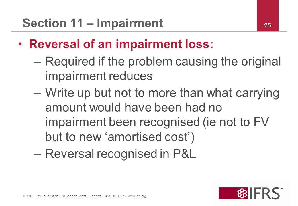 Reversal of an impairment loss: