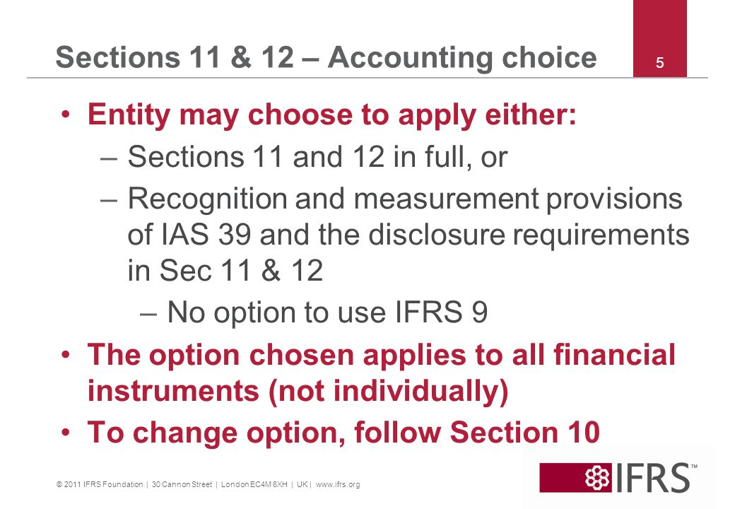 Sections 11 & 12 – Accounting choice