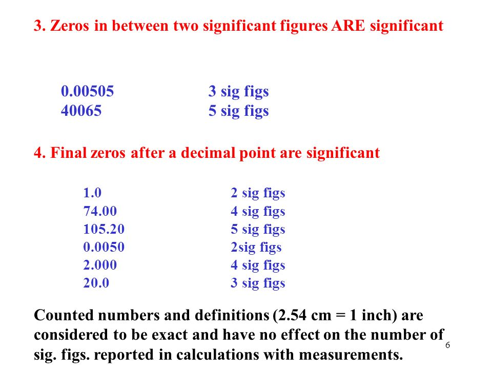 3. Zeros in between two significant figures ARE significant