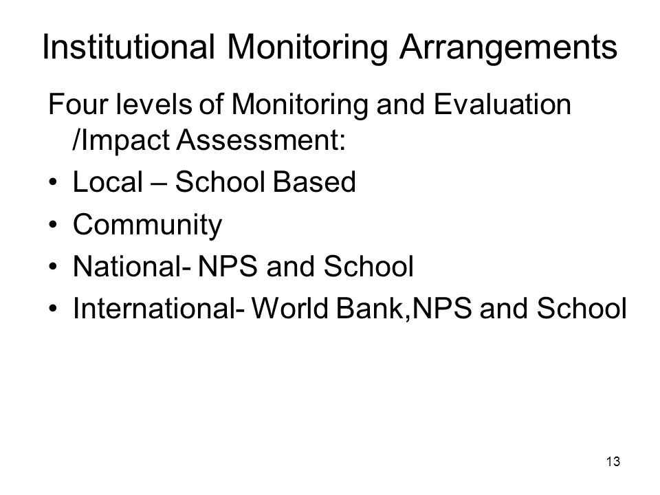 Institutional Monitoring Arrangements