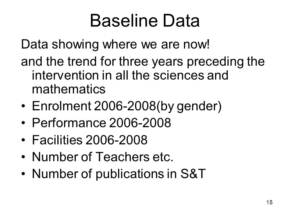 Baseline Data Data showing where we are now!